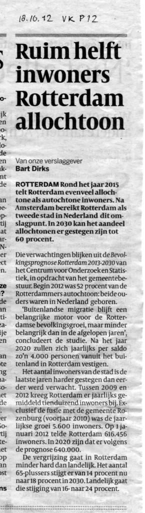 """""""Ruim helft inwoners Rotterdam allochtoon"""" De Volkskrant, October 18, 2012, p 12"""